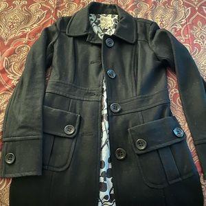 Black pea coat in size S